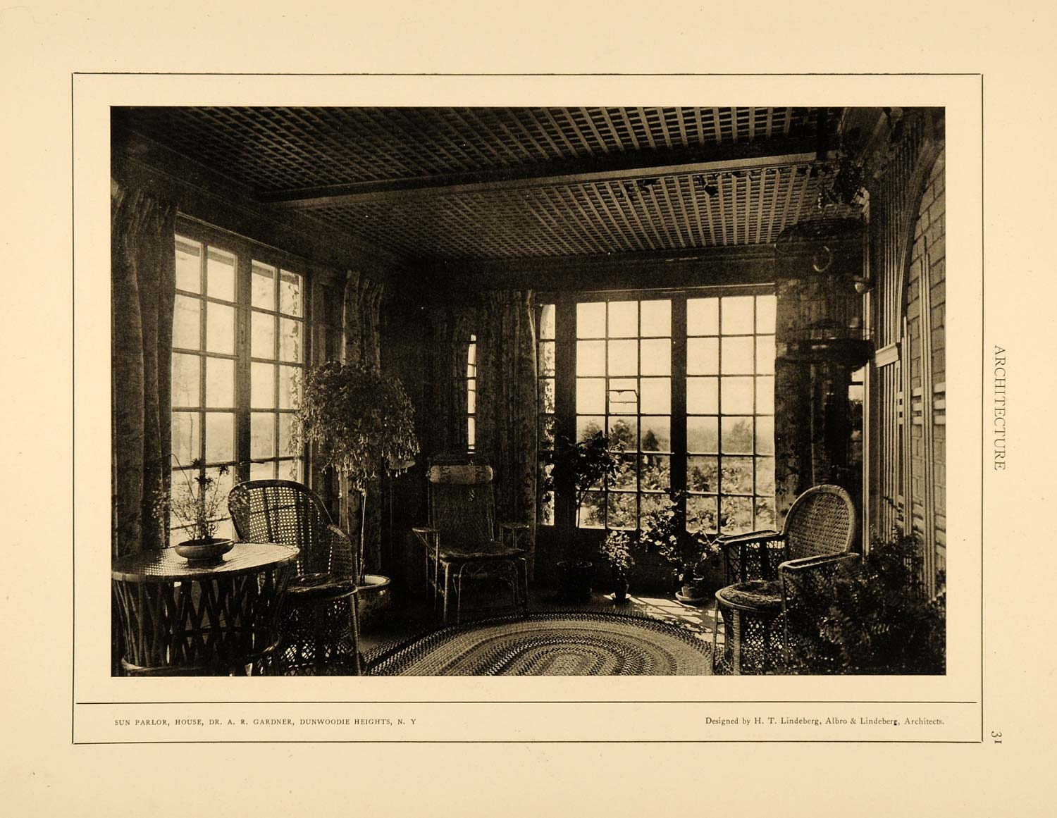 1915 Print Dr. A. R. Gardner Sun Room Dunwoodie Heights NY Interior ARC4