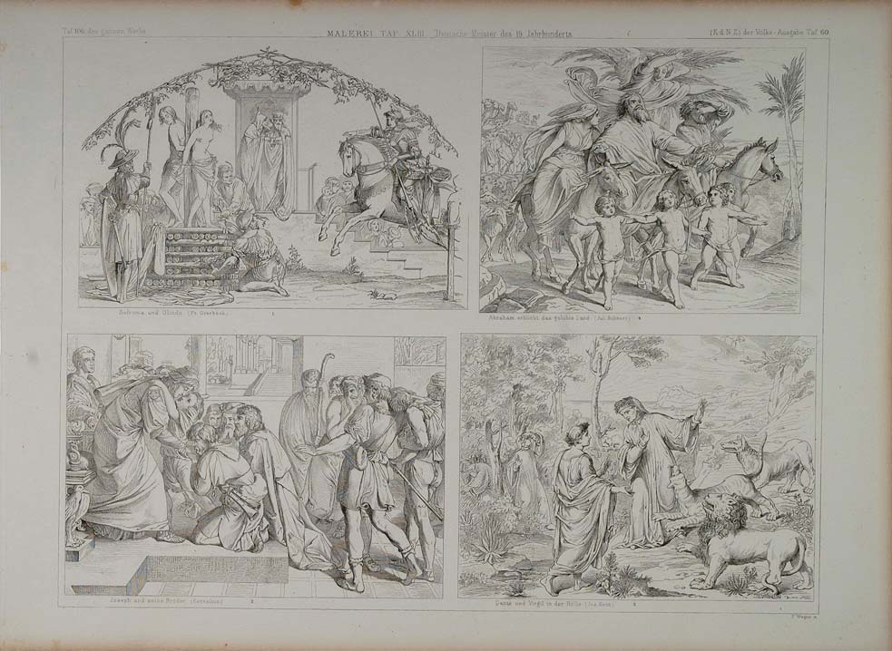 1870 Lithograph Germany Painting Sophronia Olindo Dante Virgil Hell ARCH2