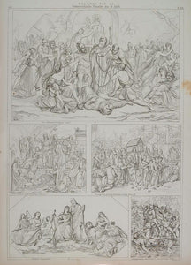 1870 Religious Art Lithograph Austrian Painting Raising of Lazarus ARCH3