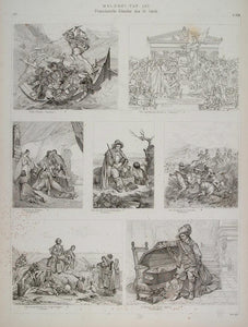 1870 Lithograph French Painting Cromwell Paul Delaroche Battle Assoum H ARCH3