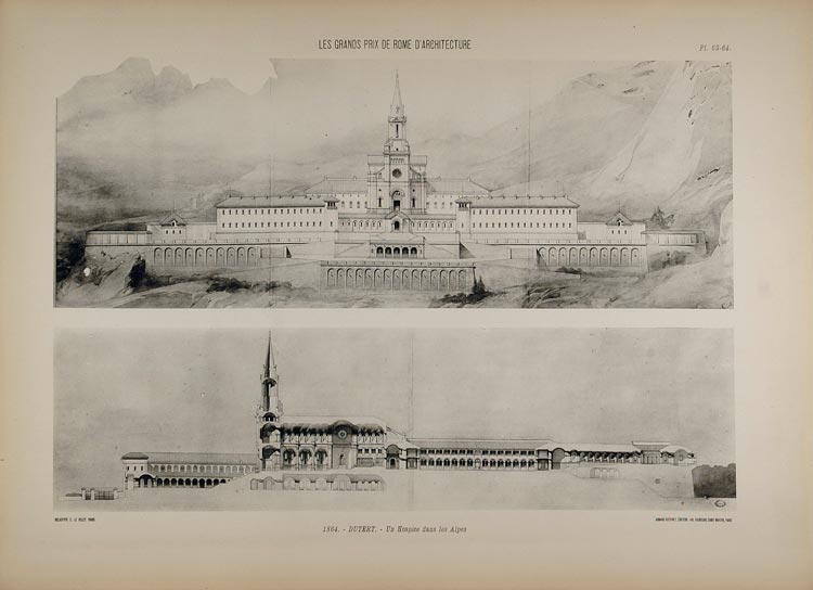 1902 Print Grand Prix de Rome Dutert Architecture Elevations Hospice Alps ARCH5