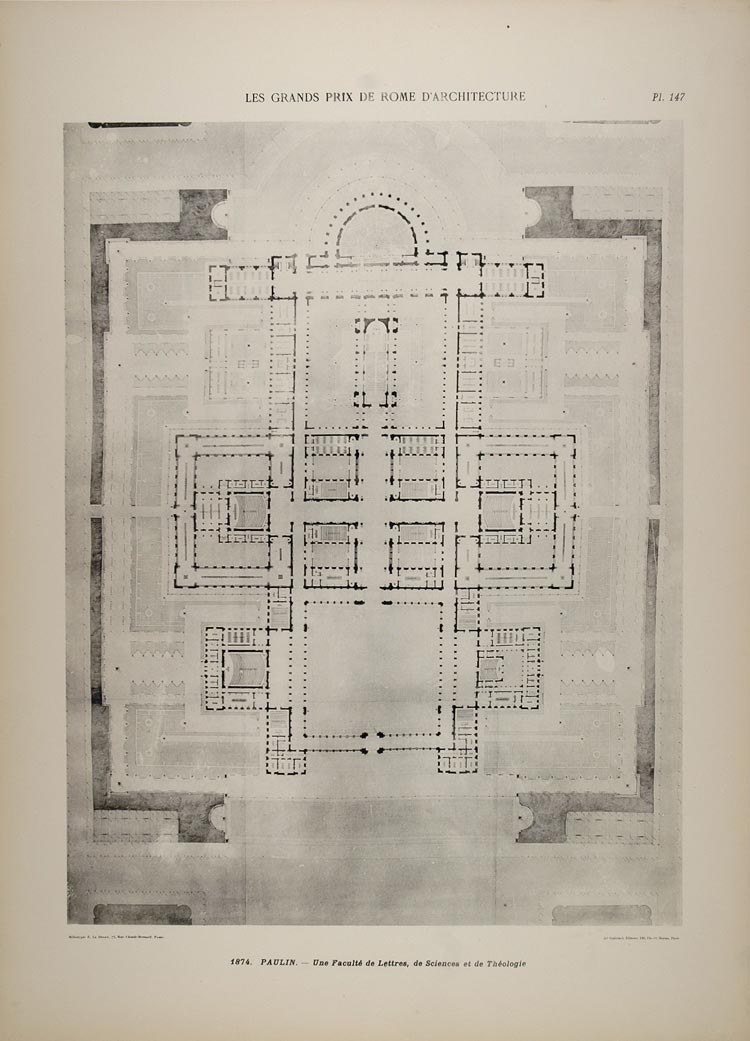 1902 Print Paulin Architecture University Floor Plan - ORIGINAL ARCH6