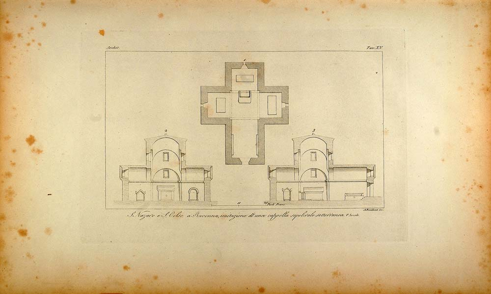 1845 Engraving Church Nazaro Celso Ravenna Architecture - ORIGINAL ARCH8