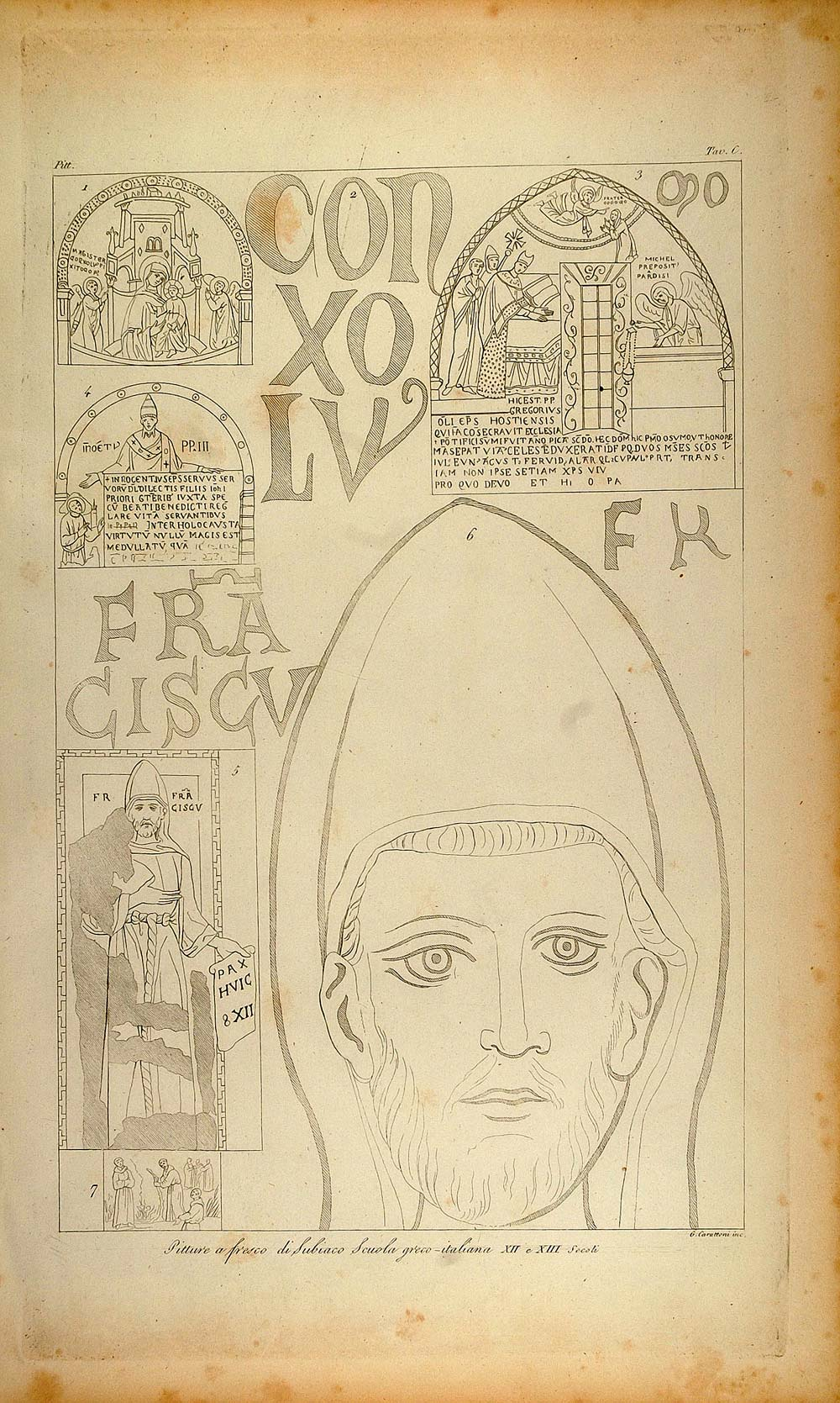 1845 Antique Engraving Monk Subiaco Fresco Painting - ORIGINAL ARCH8