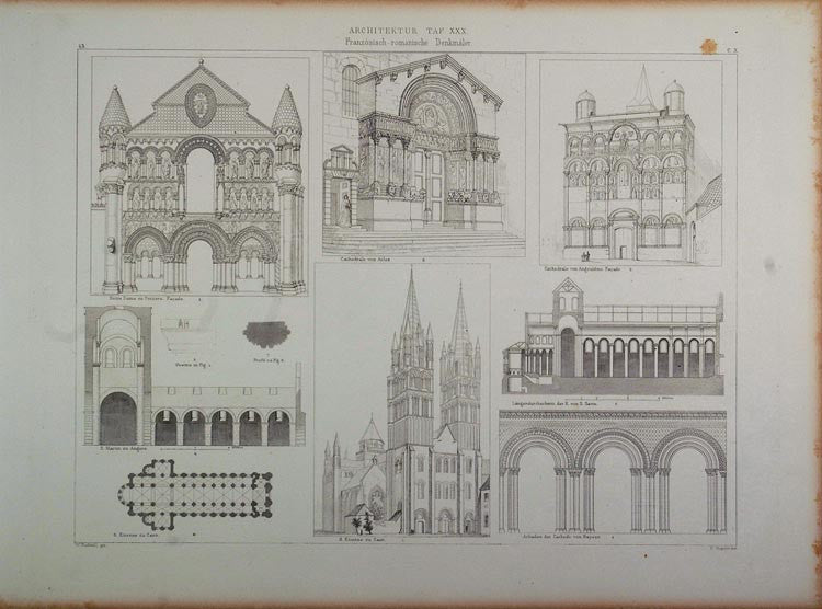1870 Lithograph France Church Architecture Arles Caen - ORIGINAL ARCH - Period Paper