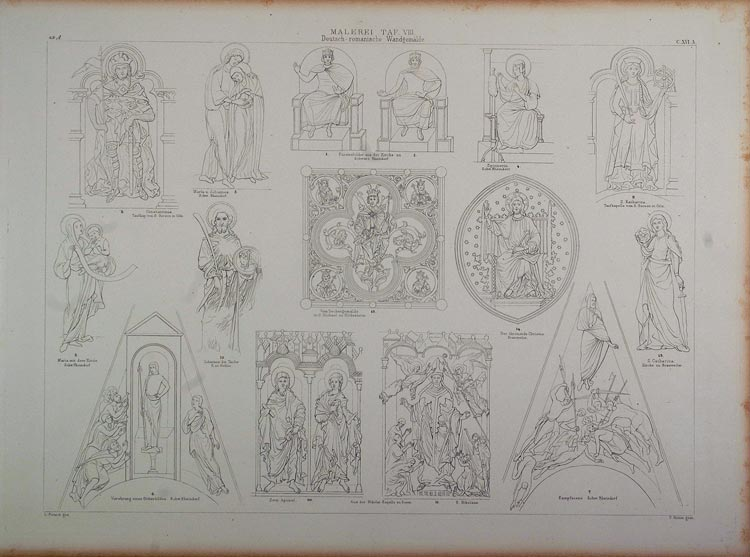 1870 Lithograph Germany Church Architecture Paintings - ORIGINAL ARCH