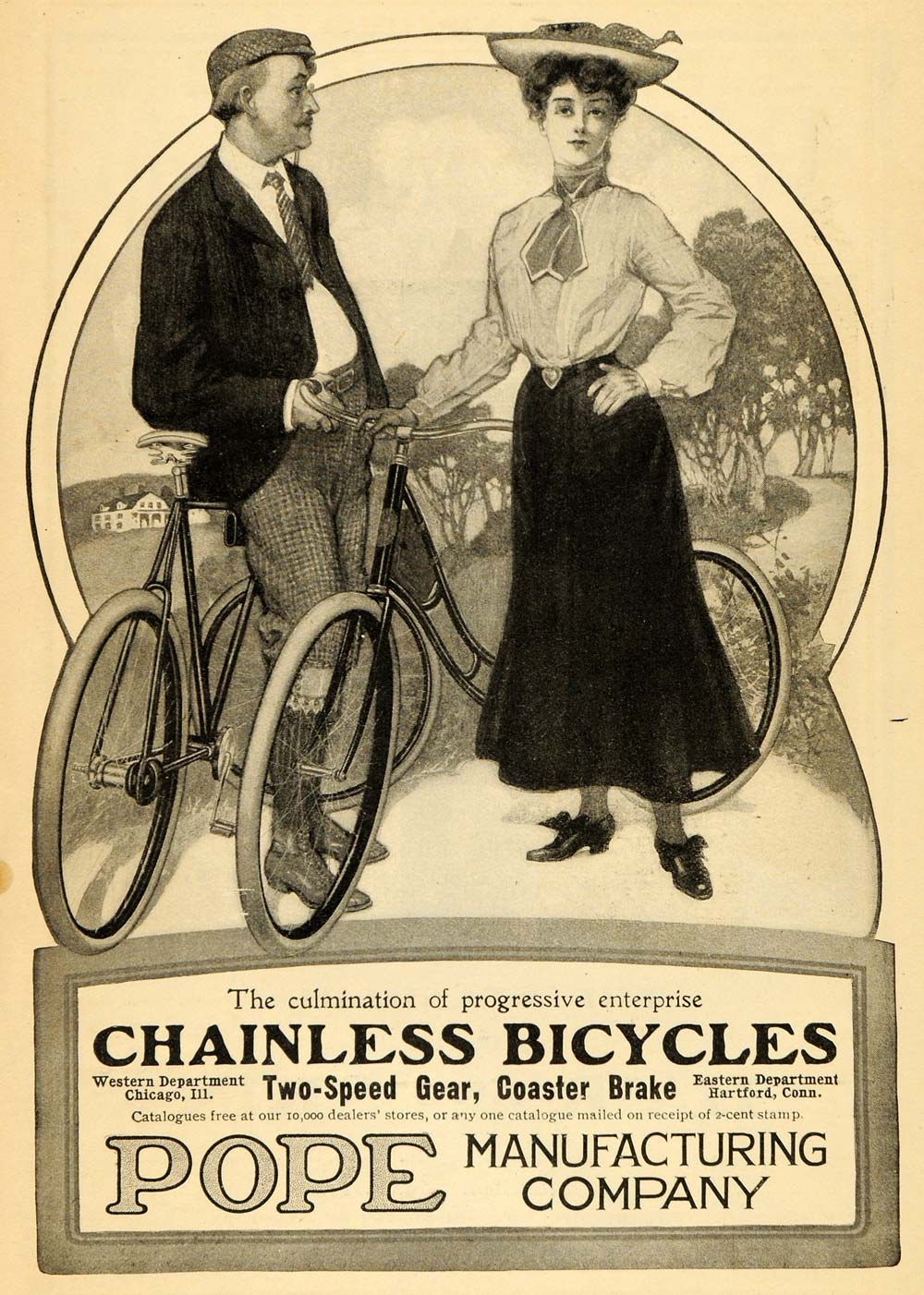 1904 Ad Pope Chainless Bicycles Coaster Break Two Speed Hartford ARG1