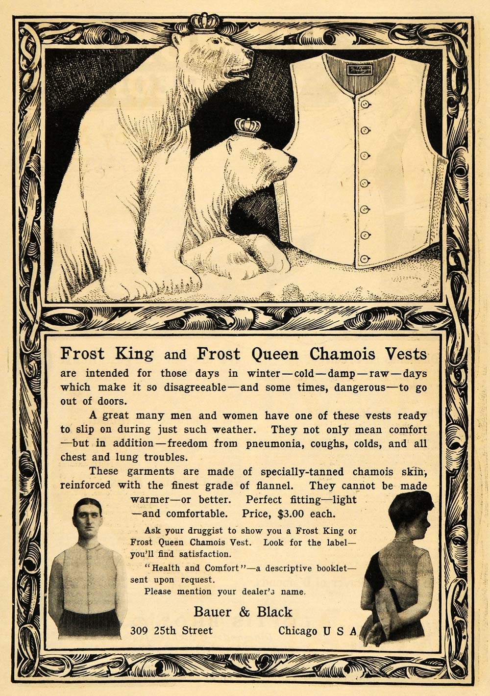 1903 Ad Bauer Black Frost King Queen Chamois Vest Polar Bears Clothing ARG1