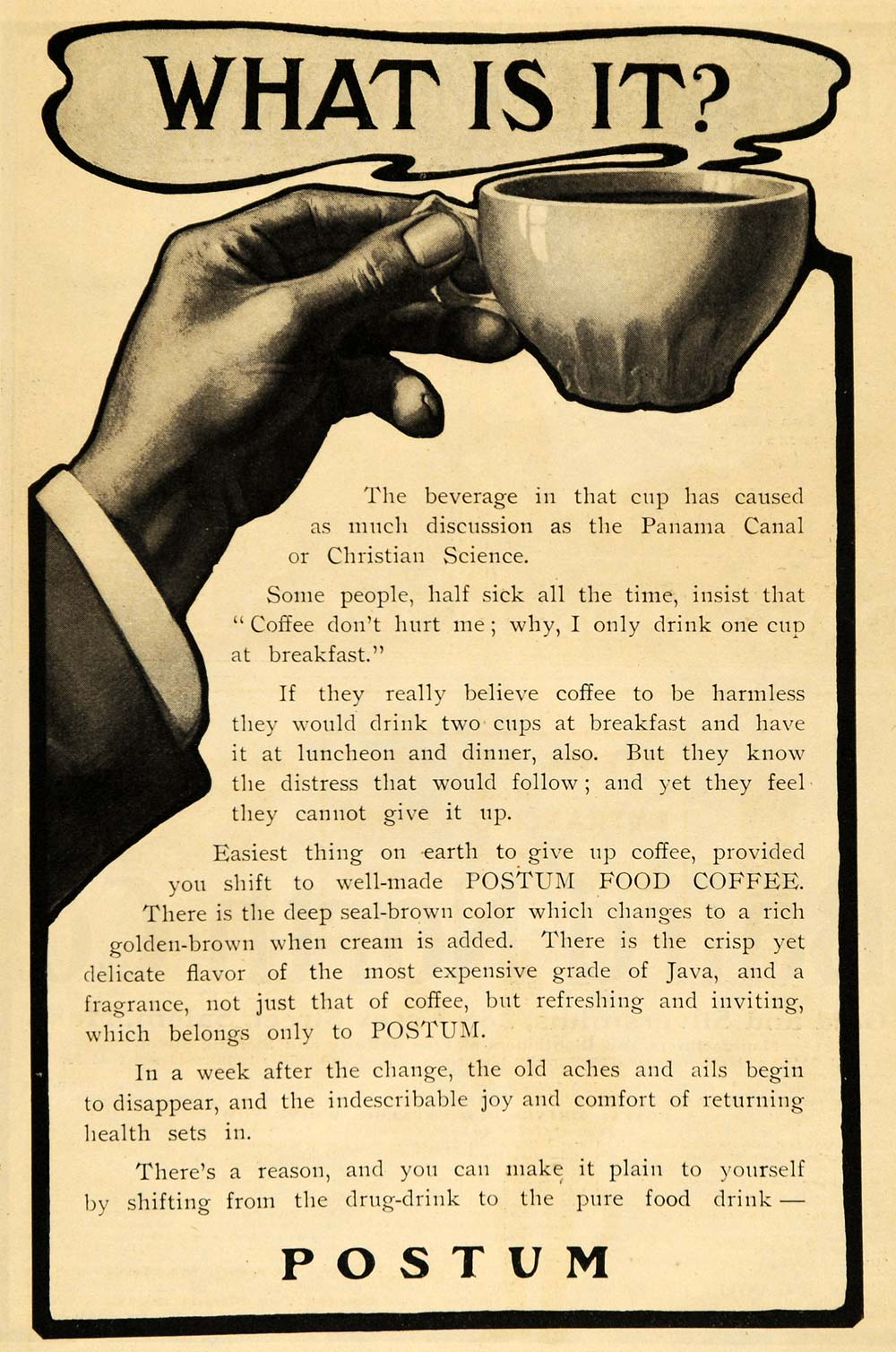 1903 Ad Postum Cereal Caffeine Free Beverage Coffee Cup Battle Creek ARG1