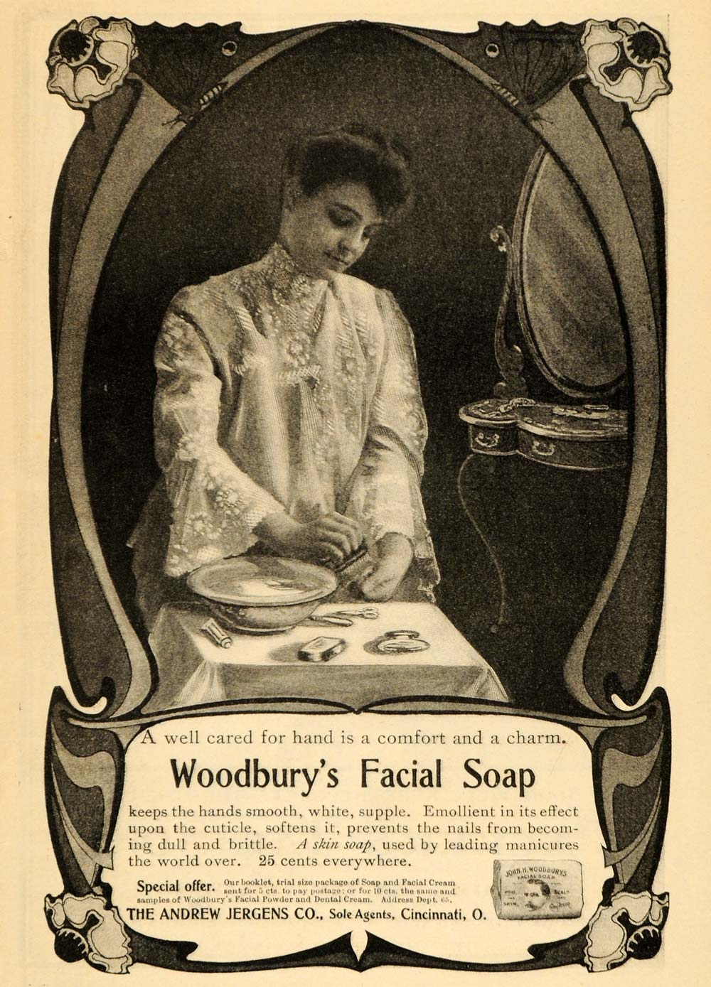 1903 Ad Andrew Jergens Woodbury Facial Soap Toiletries Skin Care Edwardian ARG1