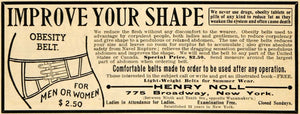 1904 Ad Henry Noll Obesity Belt Fat Reducer Shape Medical Quackery ARG1