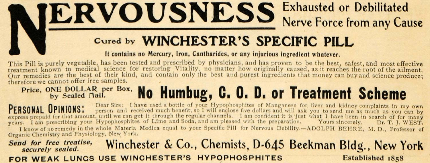 1904 Ad Winchester Specific Pill Nervous Debilitation Medical Quackery Dr ARG1