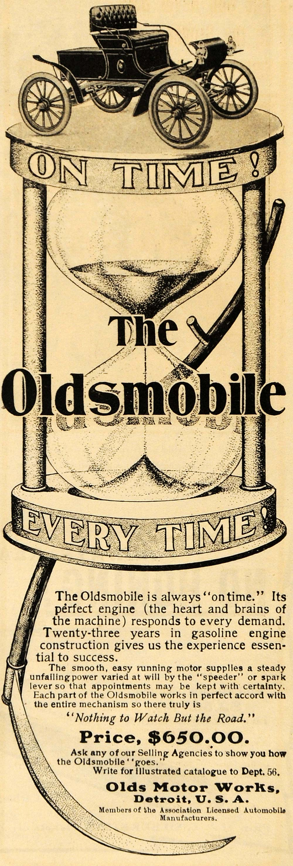 1903 Ad Olds Motor Works Antique Oldsmobile Car Auto Hourglass Detroit ARG1