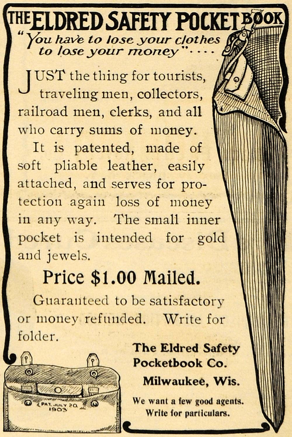 1903 Ad Eldred Safety Pocketbook Inner Cloth Pocket Wallet Security ARG1
