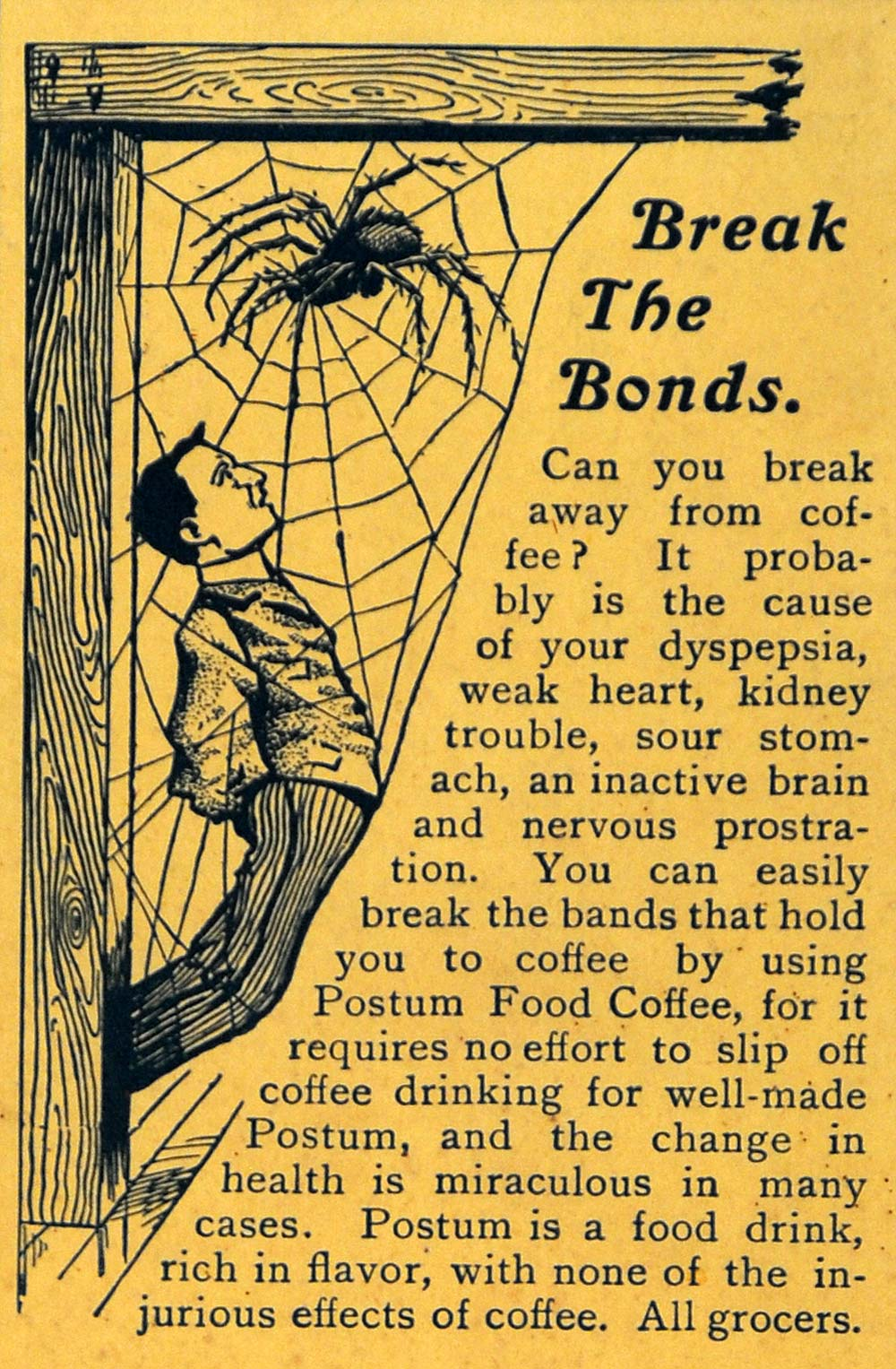 1902 Ad Postum Cereal Caffeine-Free Men Trap Spider Web - ORIGINAL ARG1