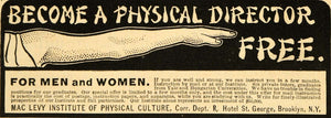 1902 Ad Mac Levy Institute Physical Culture Course - ORIGINAL ADVERTISING ARG1