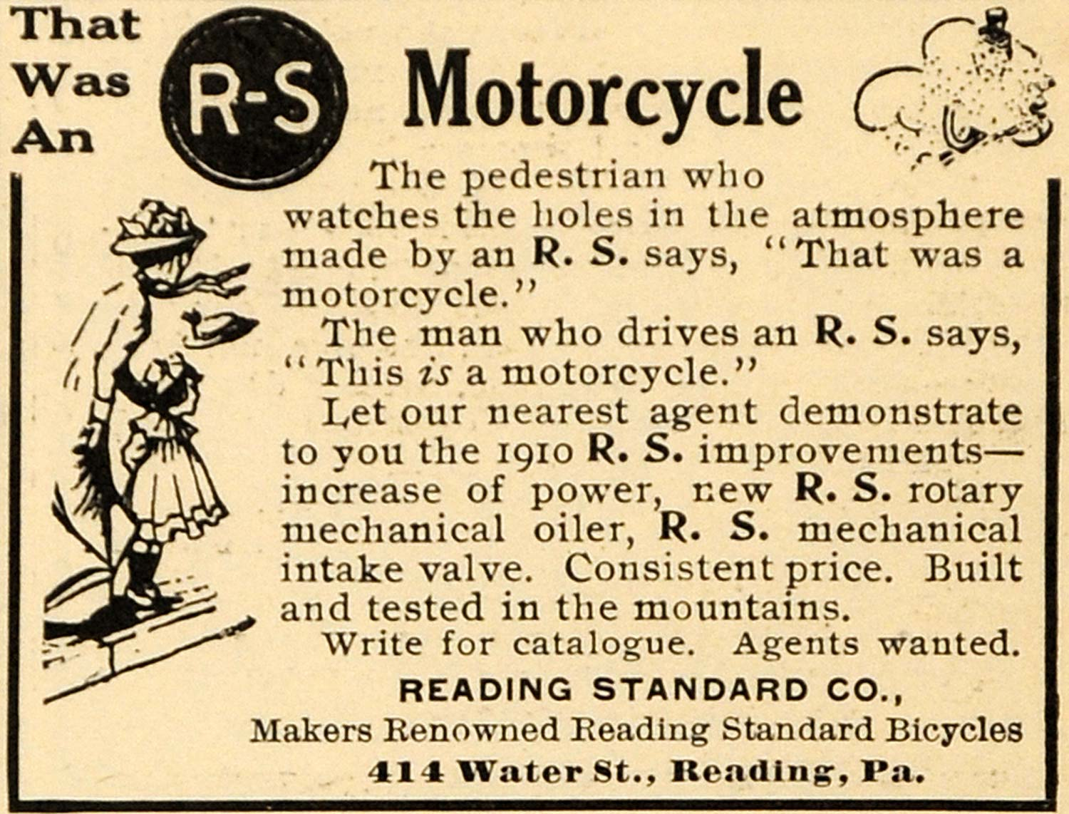 1910 Ad Reading Standard Co Motorcycle R-S Pennsylvania - ORIGINAL ARG1