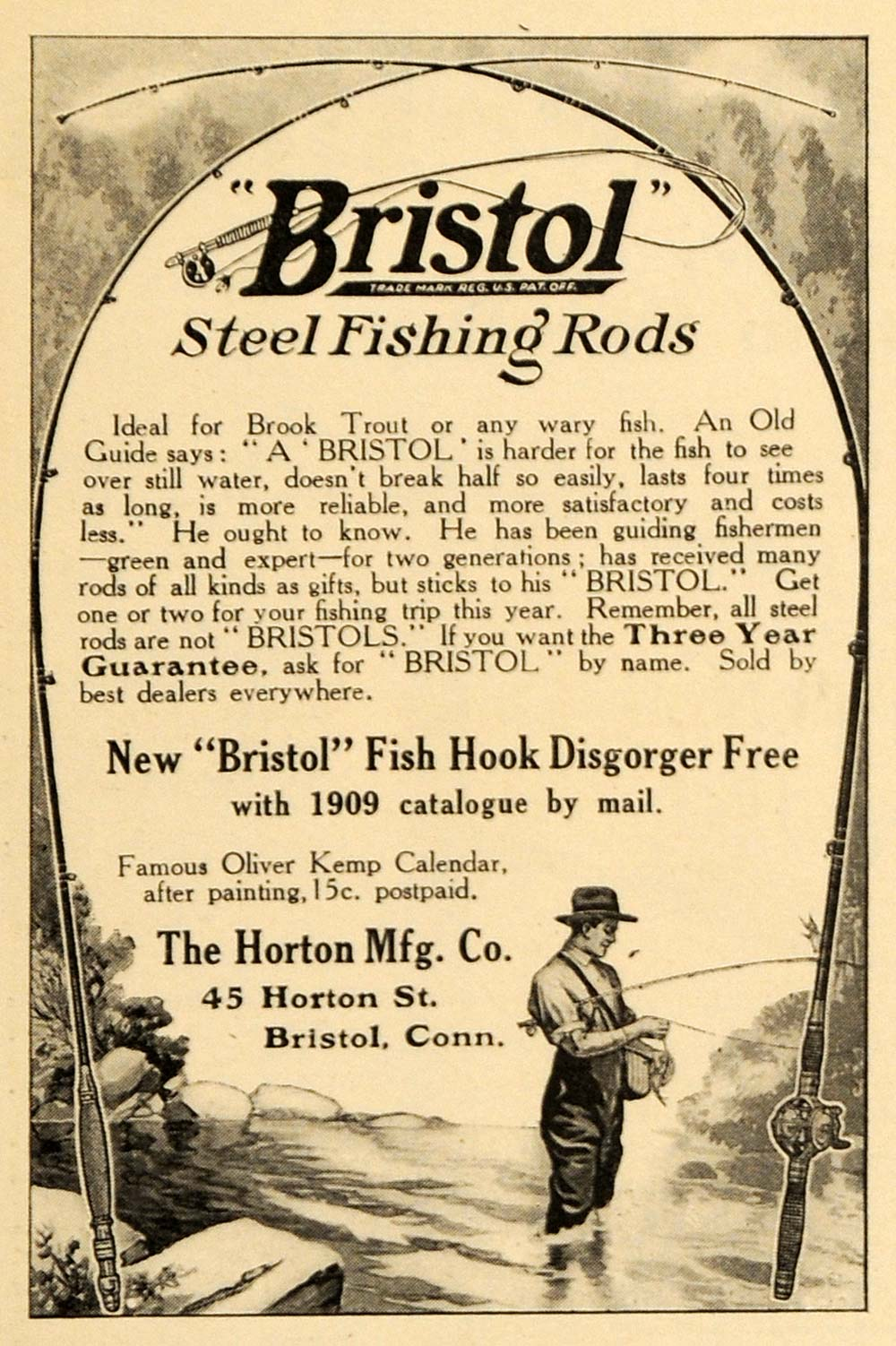1909 Ad Bristol Steel Fishing Rods Fish Hook Horton - ORIGINAL ADVERTISING ARG1