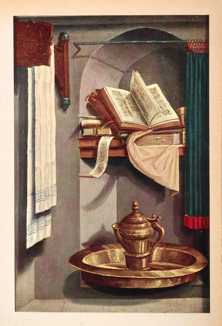 1952 Art Print Flemish Still Life Book Basin Towel - ORIGINAL ART2