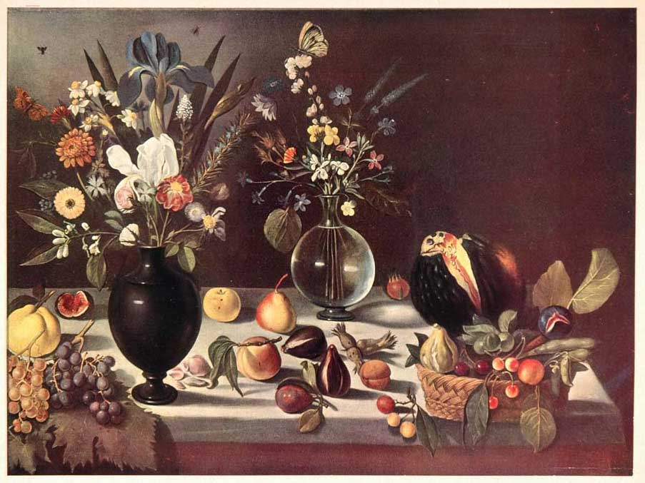 1952 Art Print Still Life Flower Fruit After Caravaggio - ORIGINAL ART2