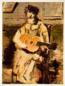 1961 Georges Braque Woman Guitar Corot Color Art Print - ORIGINAL