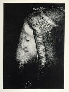 1967 Print Profile of Light Night Portrait Odilon Redon ORIGINAL HISTORIC ART4