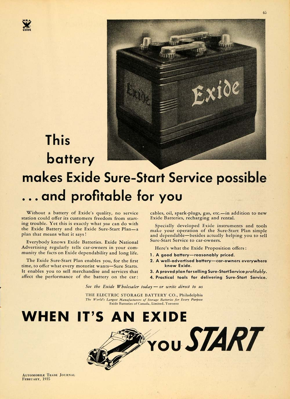 1935 Ad Electric Storage Battery Company Exide Car Battery ATJ1