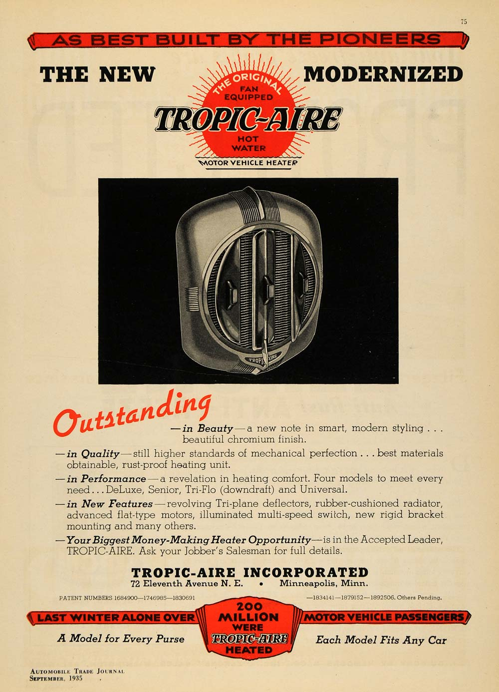 1935 Ad Tropic Aire Fan Hot Water Motor Vehicle Heater - ORIGINAL ATJ2