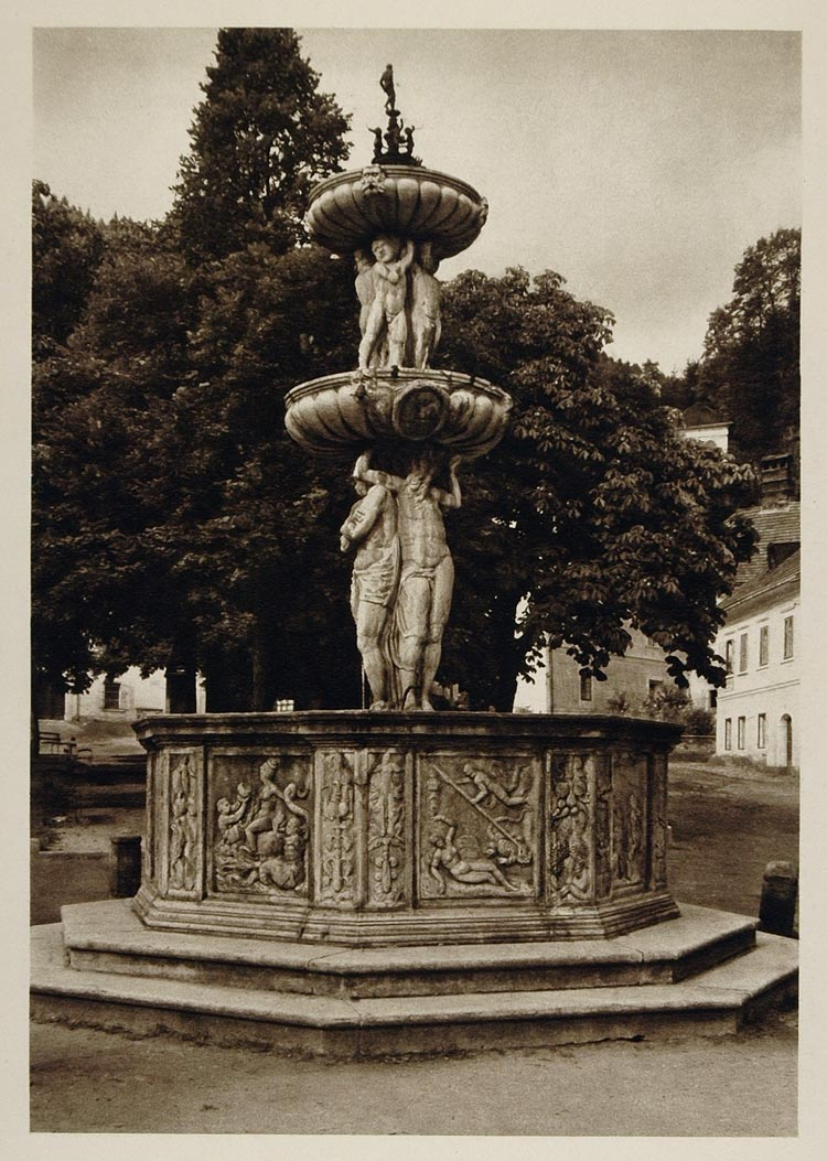 1928 Fountain Friesach Austria Austrian Photogravure - ORIGINAL AUS2