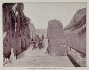 1893 Print Yellowstone Park Golden Gate Canyon Entrance ORIGINAL HISTORIC AW2