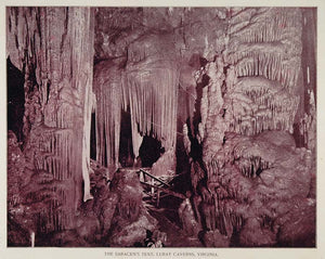 1893 Print Luray Caverns Cave Formation Saracen's Tent ORIGINAL HISTORIC AW2