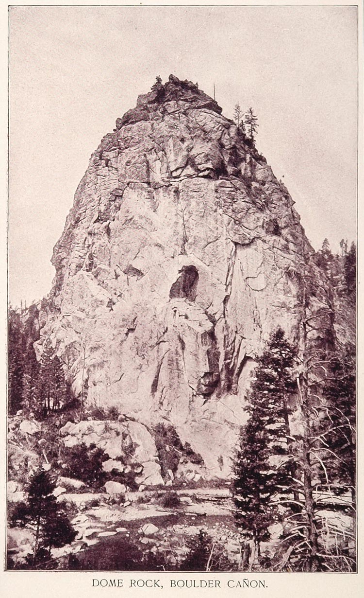 1893 Original Print Dome Rock Boulder Canyon Colorado - ORIGINAL AW