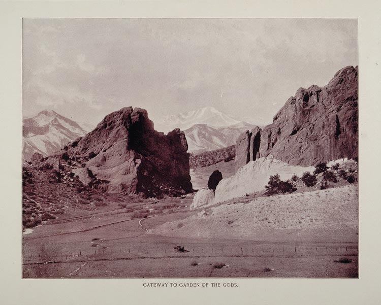 1893 Print Gateway Garden of the Gods Colorado Mountain - ORIGINAL AW
