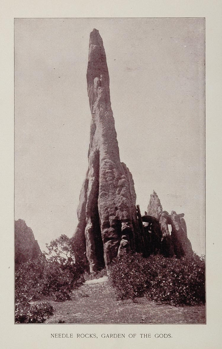 1893 Print Needle Rocks Garden of the Gods Colorado - ORIGINAL AW
