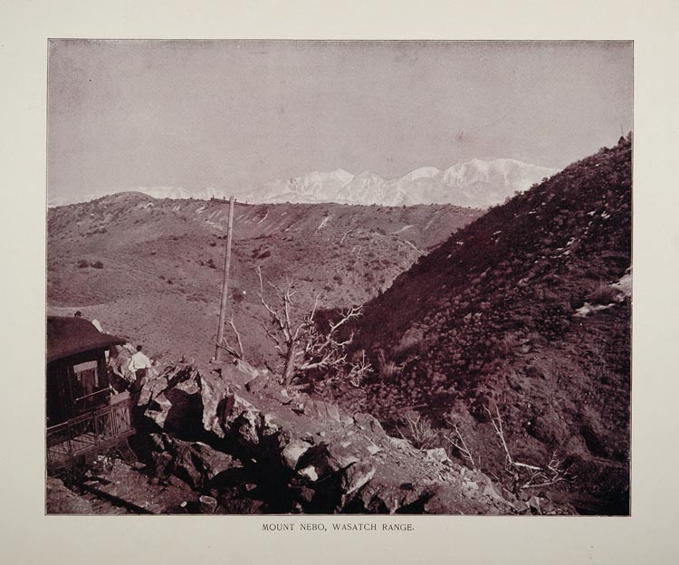 1893 Print Snow Mount Nebo Wasatch Range Mountain Utah - ORIGINAL AW