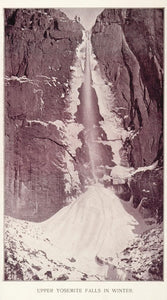 1893 Duotone Print Upper Yosemite Falls Winter Ice Buel - ORIGINAL AW