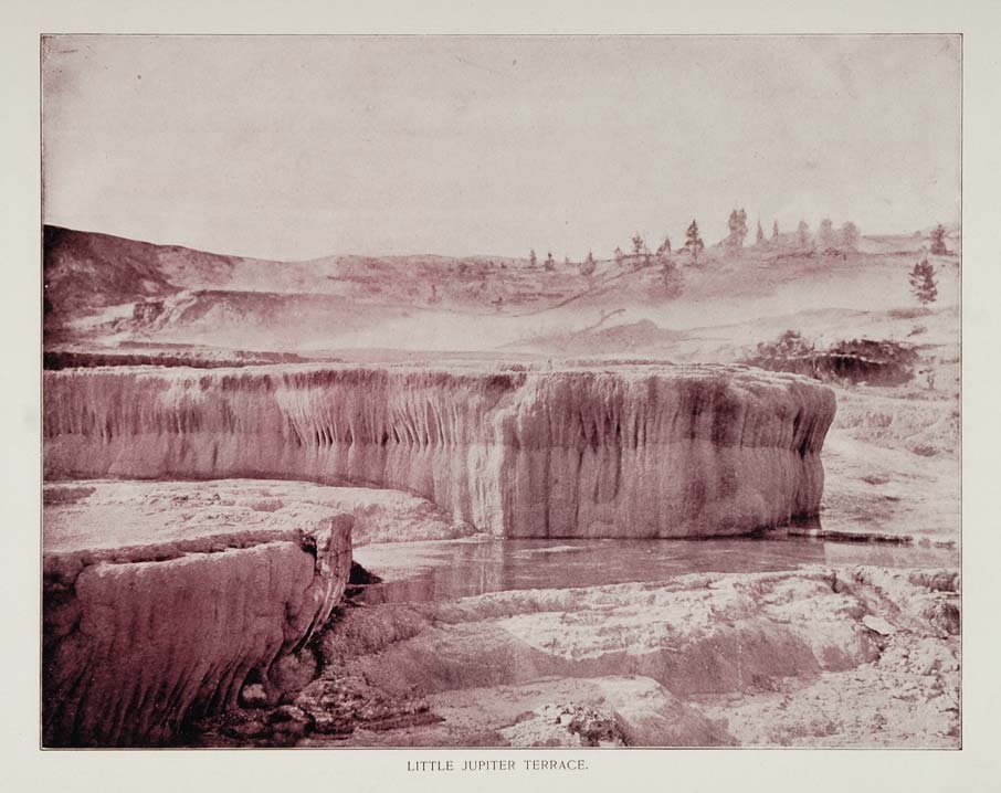 1893 Print Mammoth Hot Springs Little Jupiter Terrace - ORIGINAL AW