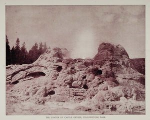 1893 Duotone Print Crater Castle Geyser Yellowstone - ORIGINAL AW
