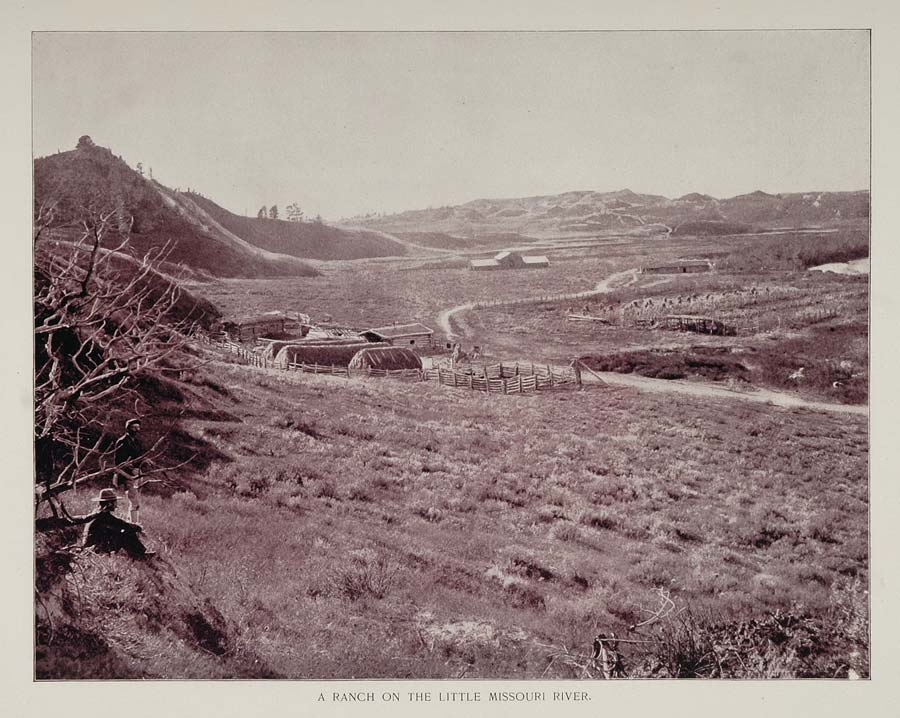 1893 Duotone Print Western Ranch Little Missouri River - ORIGINAL AW