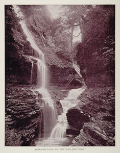1893 Duotone Print Terraced Falls Watkins Glen New York - ORIGINAL AW