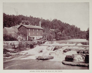 1893 Print Au Sable Ausable River Rapids New York Buel - ORIGINAL AW