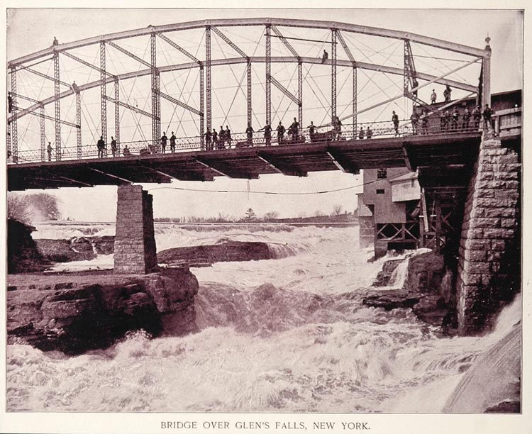 1893 Duotone Print Bridge Glen Falls New York J W Buel - ORIGINAL AW