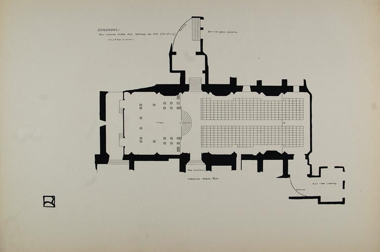1899 Print Floor Plan Stage London Guildhall H. Wilson ORIGINAL HISTORIC BA1
