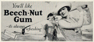 1925 Print Billboard Ad Beech Nut Gum Woman Golfer - ORIGINAL HISTORIC IMAGE BB4