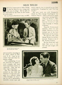 1923 Print Niles Welsh Silent Film Era Actor Movie Star Portrait Biography BBS1