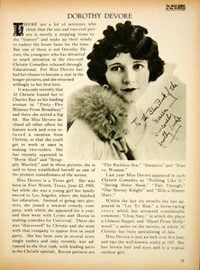 1923 Print Dorothy Devore Silent Film Actress Comedy Movie Star Biography BBS2
