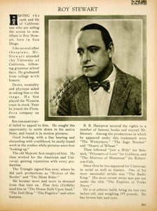 1923 Print Roy Stewart Silent Film Era Actor Hollywood Portrait Biography BBS2