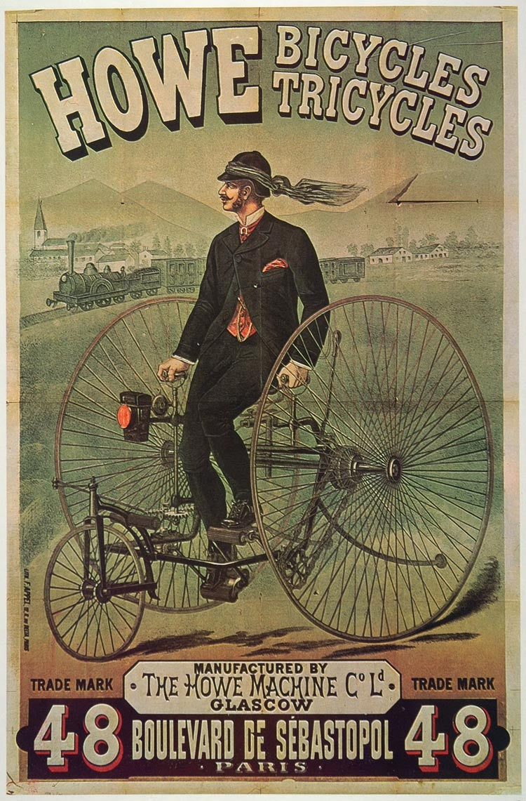 1973 Print Poster Ad Howe Bicycle Tricycle 1878 High Wheeler Wheelman Period Paper