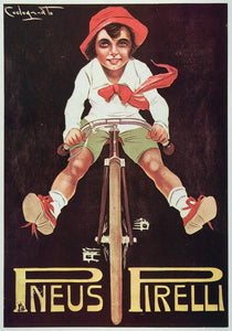 1973 Print Poster Ad French Pneus Pirelli Tires Boy Bicycle Plinio Codognato Art