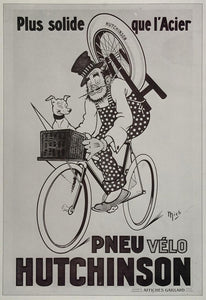 1973 Print Poster French Ad Hutchinson Tire Pneu Bicycle Mich Michel Liebeaux